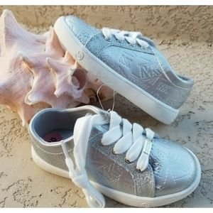MICHAEL KORS Toddler Girl Silver Leather Sneakers
